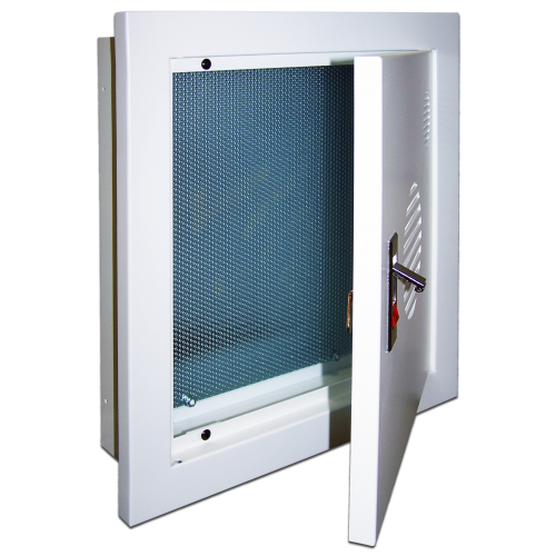 Шкаф встраиваемый с панелью крепления, 400x380x100 мм, серый