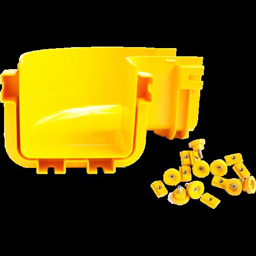 Горизонтальный поворот 90° оптического лотка, монтаж без соединителей, желтый