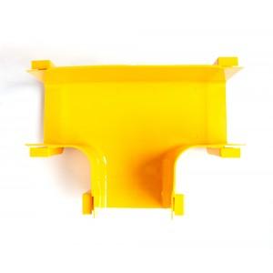 Т-соединитель оптического лотка, монтаж без соединителей, желтый