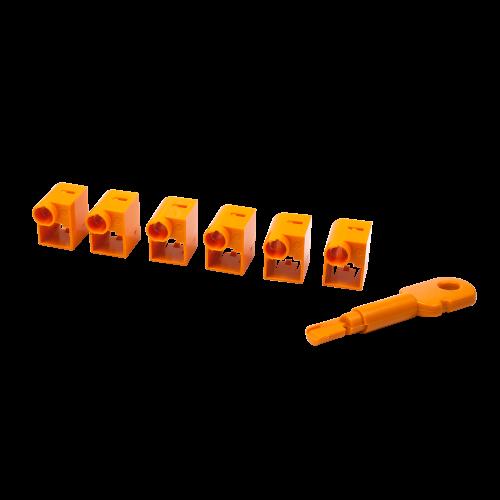 Комплект блокираторов коннектора RJ-45 (6 шт.) + ключ, оранжевый