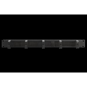 """Кабельный органайзер 19"""" c щеточным вводом с 5 металлическими кольцами, 1U"""