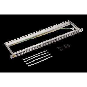 """Патч-панель наборная 19"""" компактная, экранированная, 24 порта, 0.5U"""