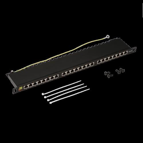 Патч-панель LANMASTER компактная 24 порта, STP, кат. 5E, 0.5U