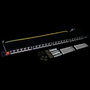 Патч-панель LANMASTER компактная 24 порта, STP, кат. 6A, 0.5U