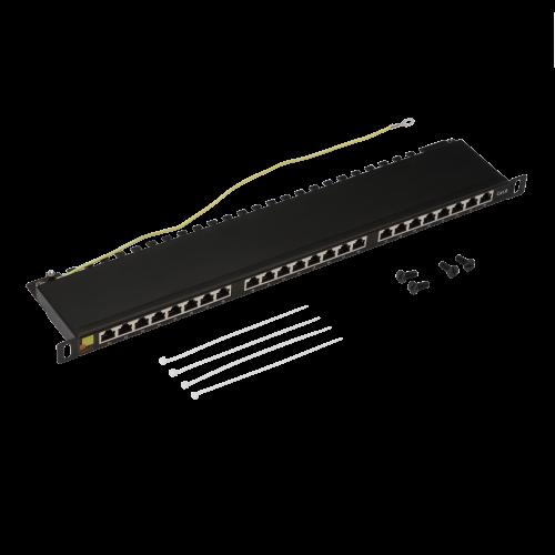 Патч-панель LANMASTER компактная 24 порта, STP, кат. 6, 0.5U