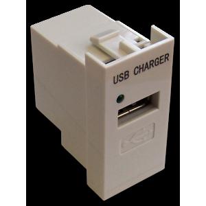 Модуль USB-зарядки, 1 порт, без выключателя, 1A/5V, 22.5x45, белый