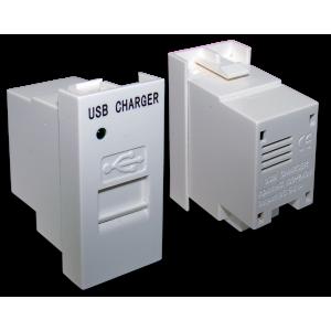Модуль USB-зарядки, 1 порт,  с выключателем, 1A/5V, 22.5x45, белый