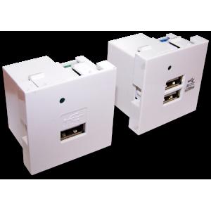 Модуль USB-зарядки, без шторки, 2.1A/5V, 45x45, белый