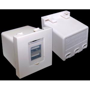 Модуль USB-зарядки, 2 порта, со шторкой, 2.4A/5V, 45x45, белый