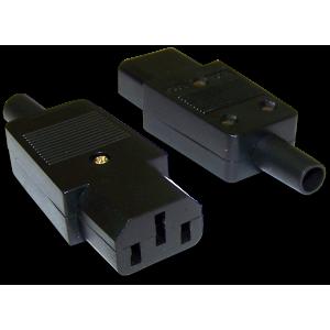 Вилка IEC 60320 C13, 10A, 250V, разборная, черная