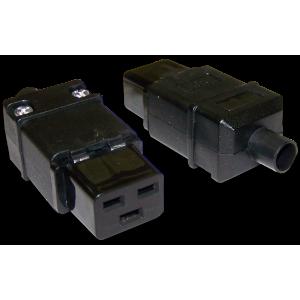 Вилка IEC 60320 C19, 16A, 250V, разборная, черная