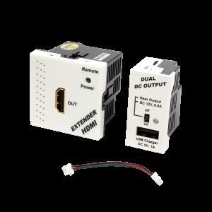 Конвертор RJ45-HDMI, приемник + блок питания, формата Mosaic, 45x45мм + 22.5х45мм, белые