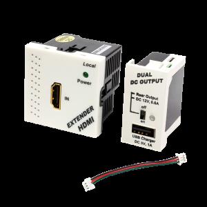 Конвертор RJ45-HDMI, передатчик + блок питания, формата Mosaic, 45x45мм + 22.5х45мм, белые
