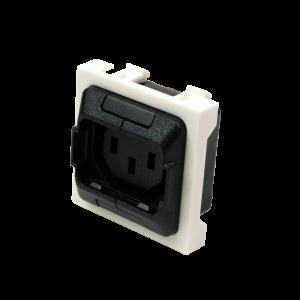 Гнездо IEC 60320 C13 с блокировкой, 10A, 250V, формата Mosaic, 45x45 мм