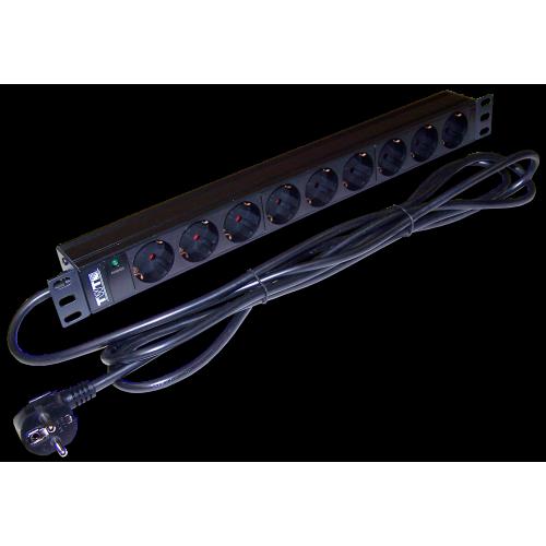 "Блок розеток 19"" 9 шт. без выключателя, 16A 250V, шнур питания 3.0 м"