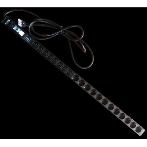 Вертикальный блок розеток, 12xSchuko + 8xC13, 250V, 16A, шнур 3 метра, вилка Schuko