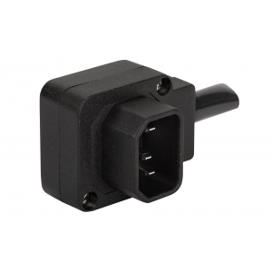 Вилка IEC 60320 C14, 10A, 250V, угловая, разборная, черная